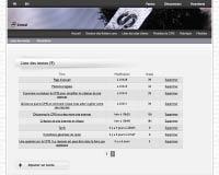 Capture d'écran : Liste des textes